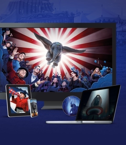 Stills from Dumbo displayed on a TV, laptop, tablet, mobile and disc