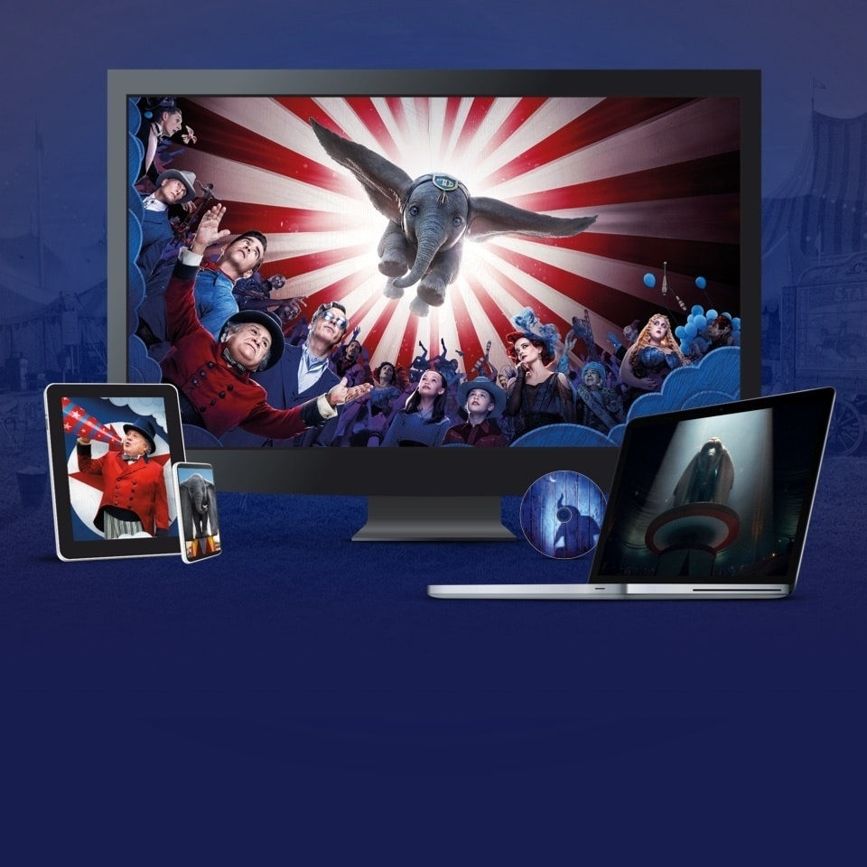 Stills from Dumbo displayed on a TV, laptop, tablet and mobile