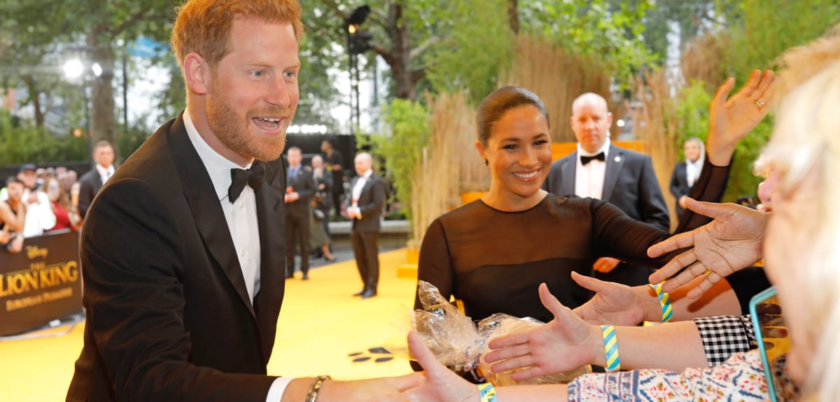 The Duke and Duchess of Sussex meet guests at The Lion King premiere.
