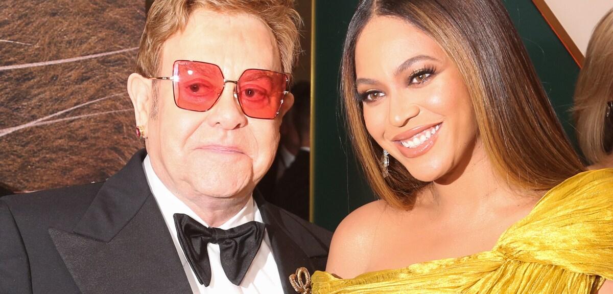 Sir Elton John and Beyoncé attend the European premiere of The Lion King