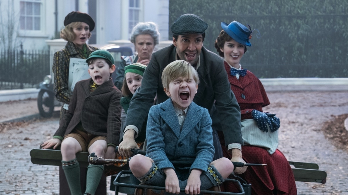 Jack, Annabel, Georgie, John and Mary Poppins riding a bike