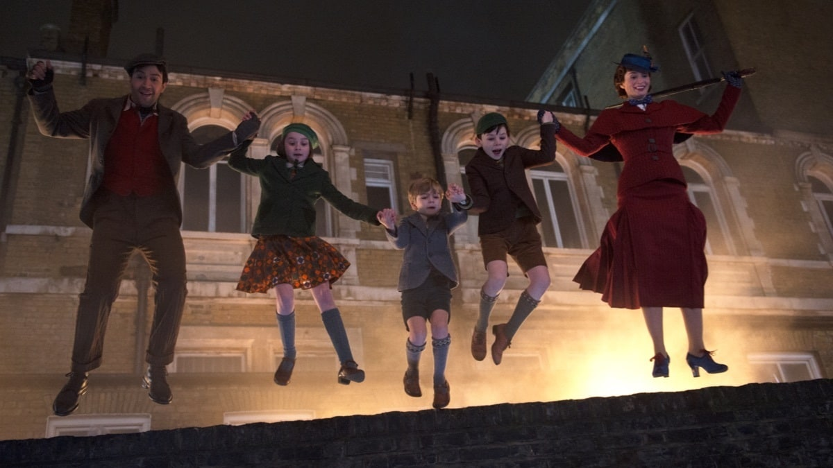 Jack, Annabel, Georgie, John and Mary Poppins jump off a roof into a world of magic and adventure