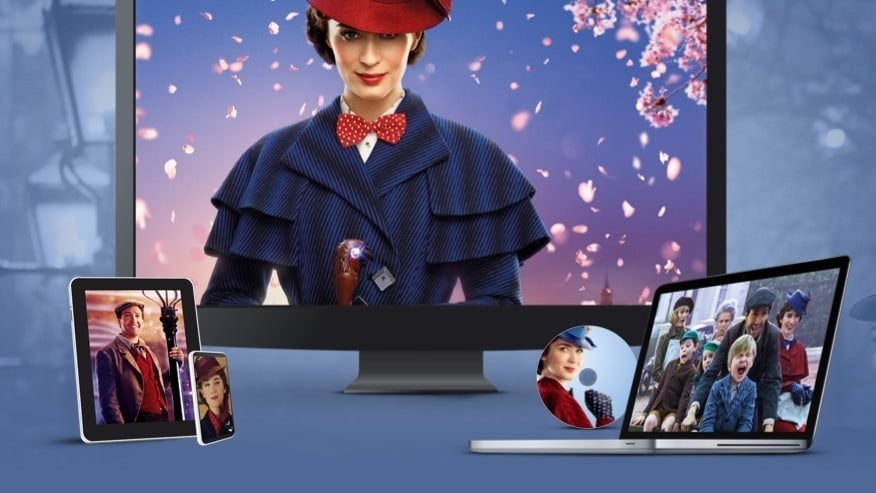 Stills from Mary Poppins Returns displayed on a TV, laptop, tablet, mobile and disc
