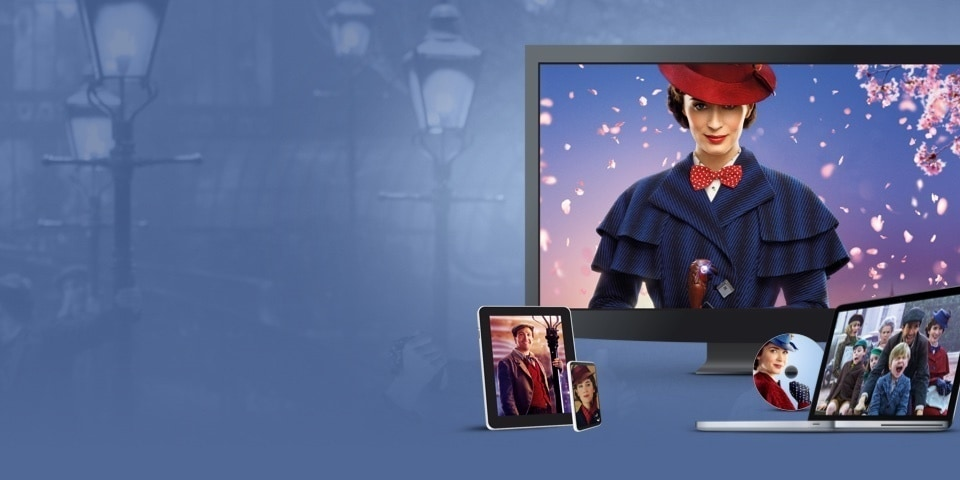 Stills from Mary Poppins Returns displayed on a TV, laptop, tablet and mobile device