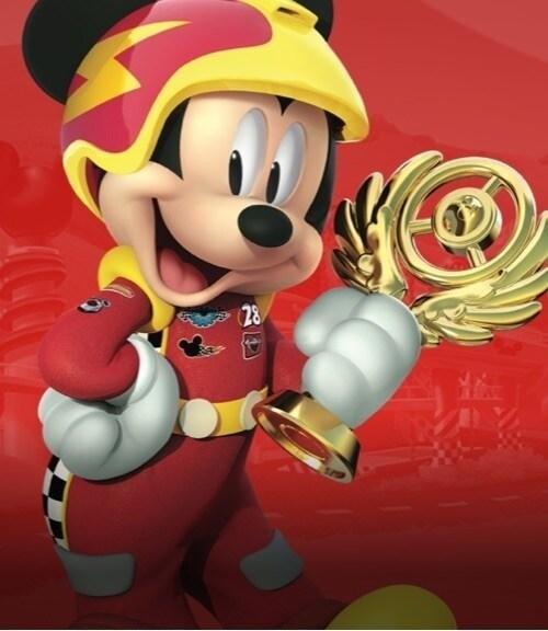 Mickey de Mickey y los Superpilotos sobre un fondo rojo