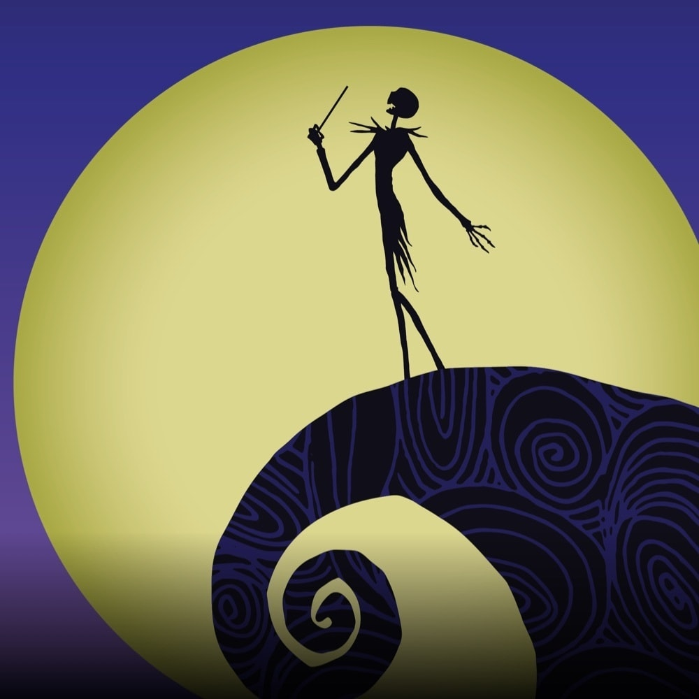 Silhouette of Jack Skellington with a conductors baton