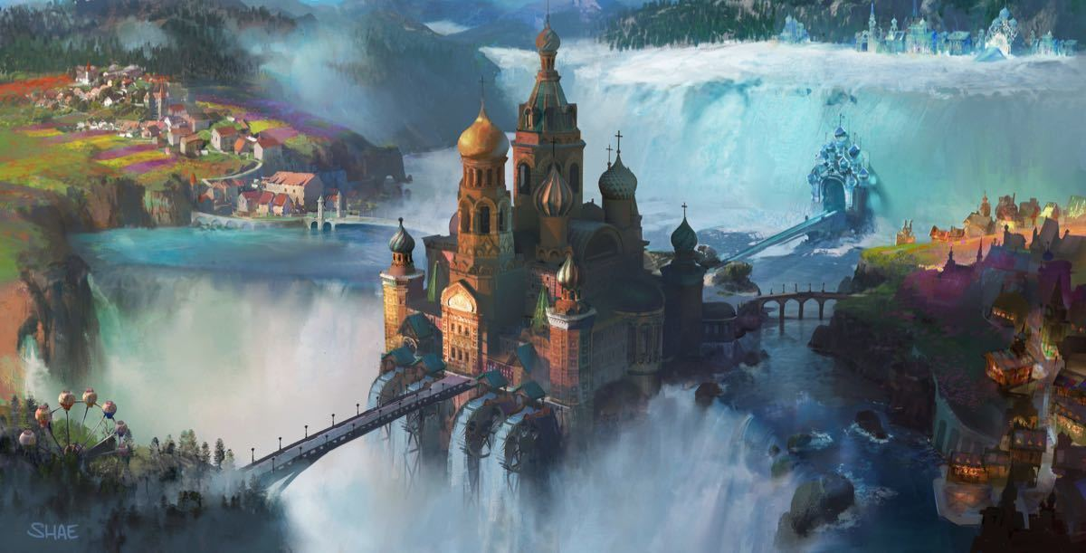 Concept art van de Palace Kingdom uit Disney's The Nutcracker and the Four Realms