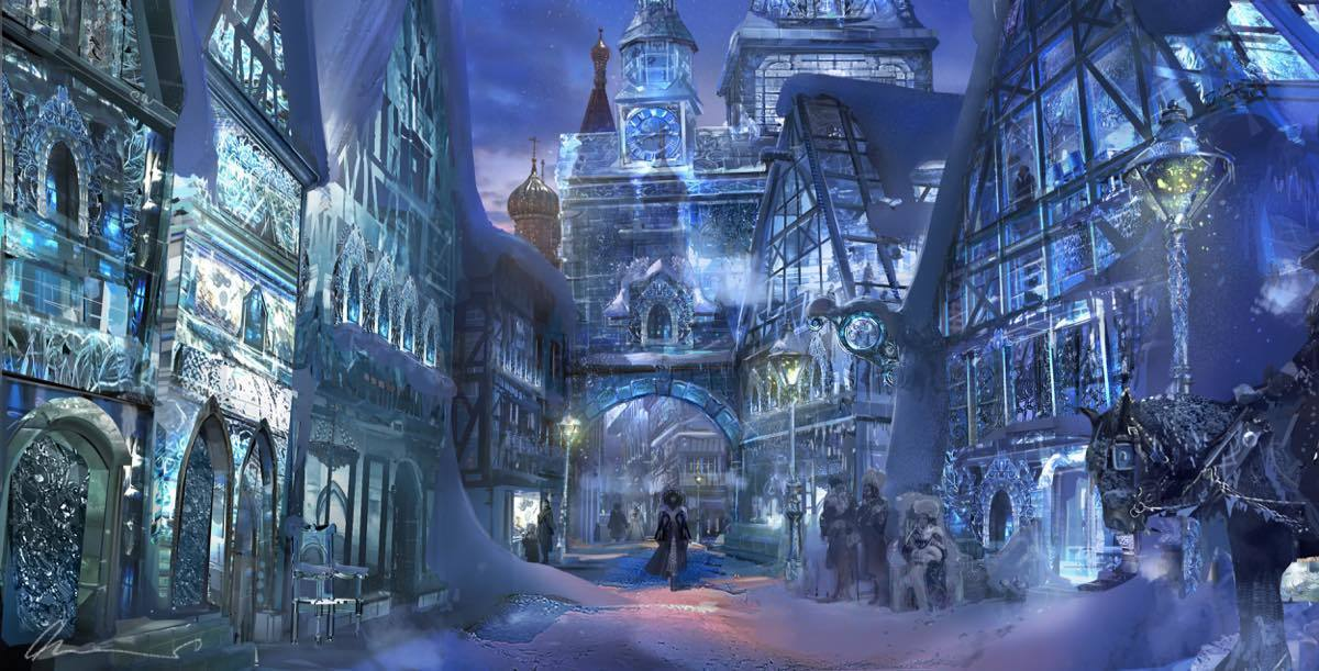Concept art of the Land of Snowflakes in Disney's The Nutcracker and the Four Realms