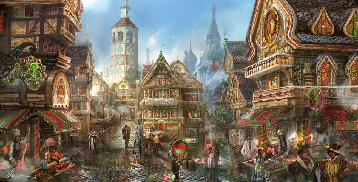 Concept art van het Land van Zoet uit Disney's The Nutcracker and the Four Realms