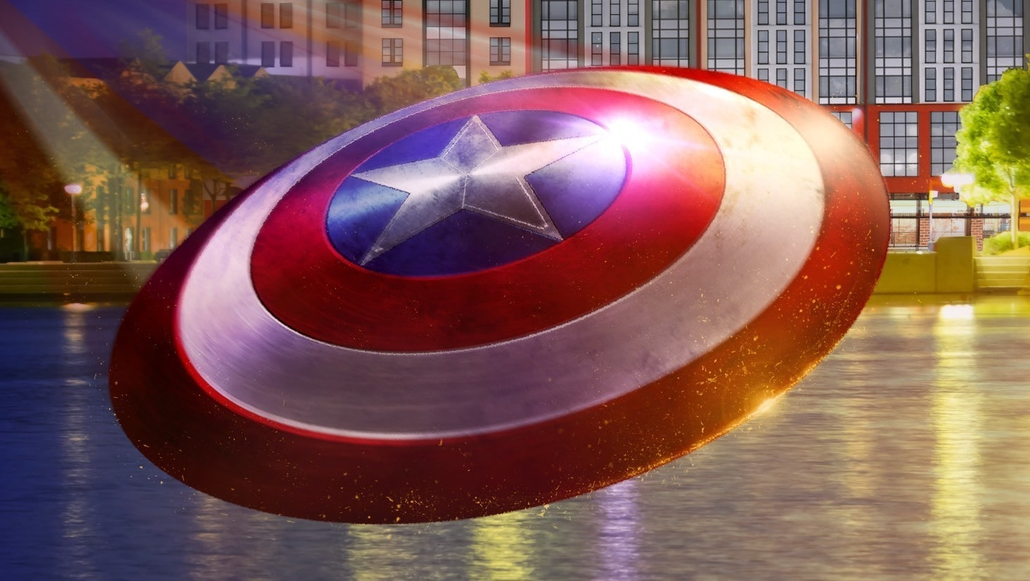 Captain Amerikas Schild fliegt an Disneys Hotel New York vorbei