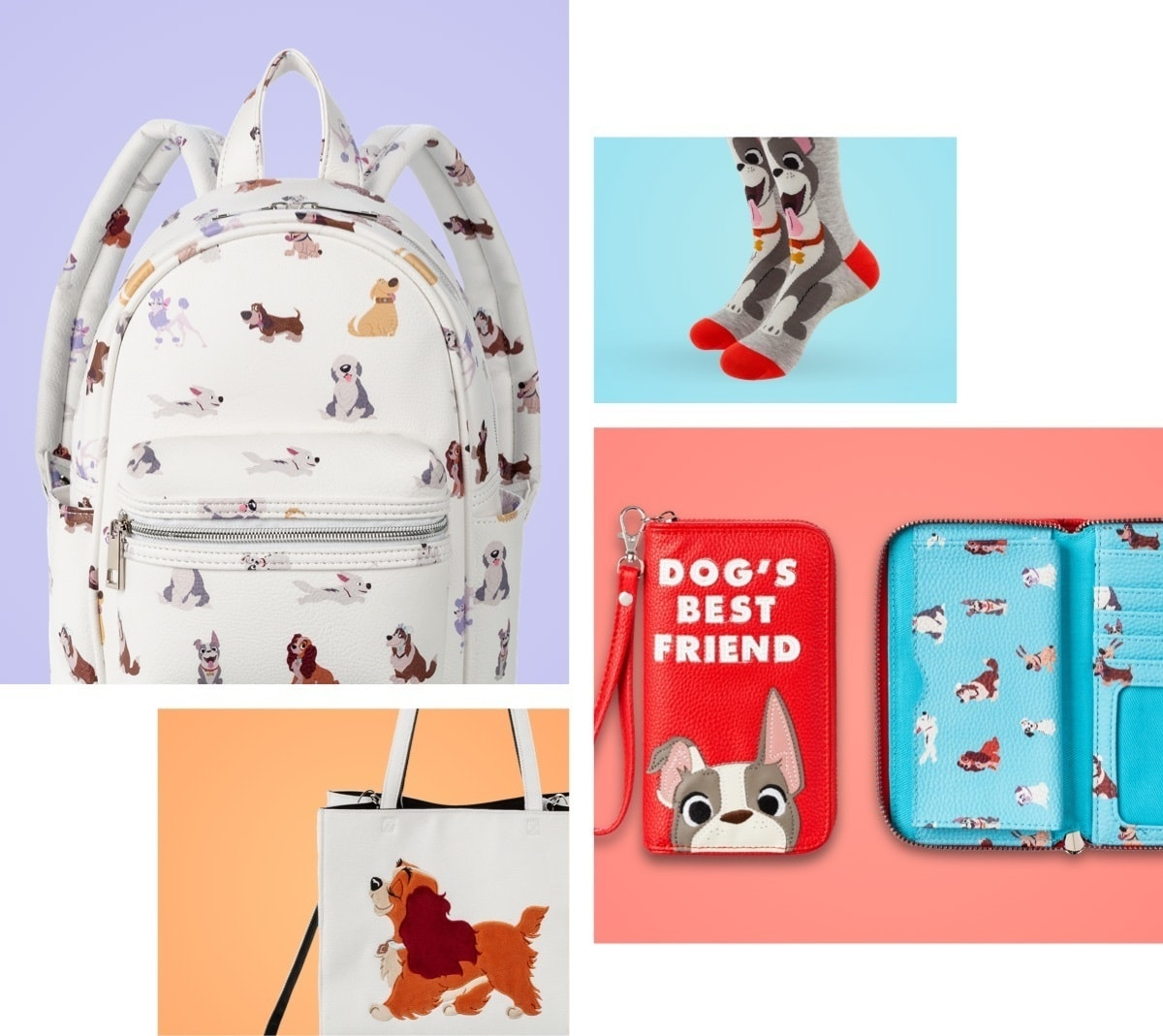 Accessories featuring beloved Disney dogs, including socks, a mini backpack, a wallet, and a tote-bag