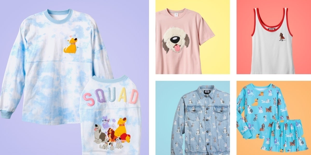 Clothing featuring beloved Disney dogs, including a t-shirt, tank top, denim jacket and pyjamas.