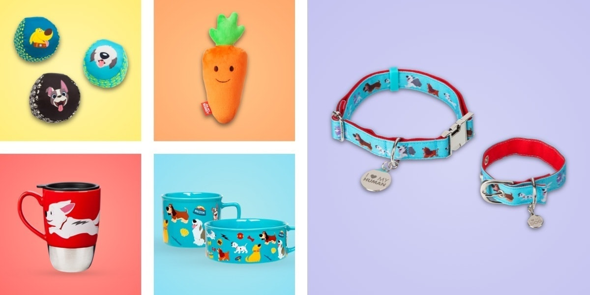 A selection of home ware featuring beloved Disney dogs, including a collar, bowl and various dog toys.