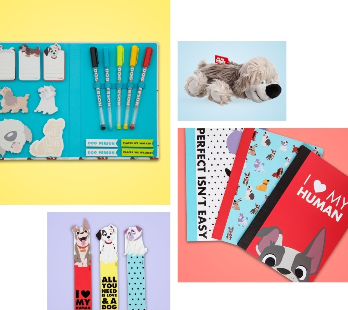 Stationery featuring beloved Disney dogs, including, journals, bookmarks, a stationery set and a Max pencil case.