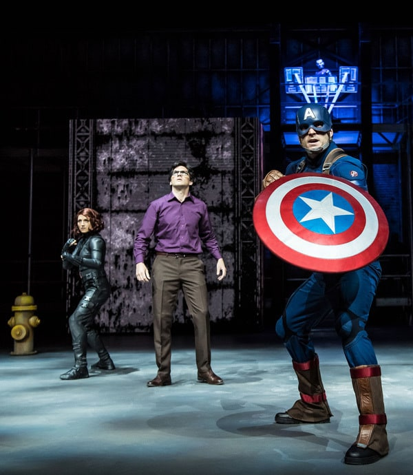 Captain America, Bruce Banner and Black Widow on stage performing at Marvel Season of Super Heroes.
