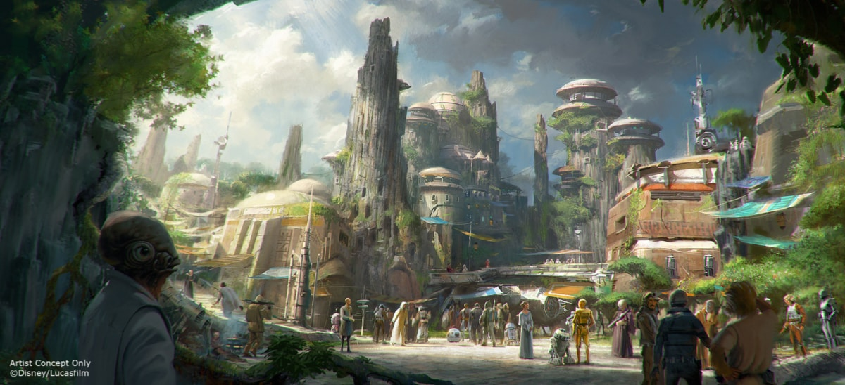 An artists impression of Star Wars: Galaxy's Edge at Walt Disney World