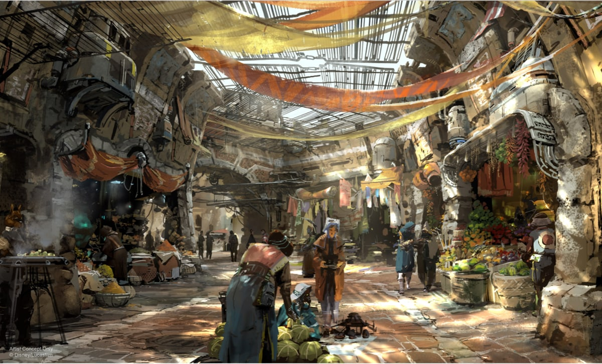 An artists impression of the market place shops at Star Wars Galaxy's Edge at Walt Disney World