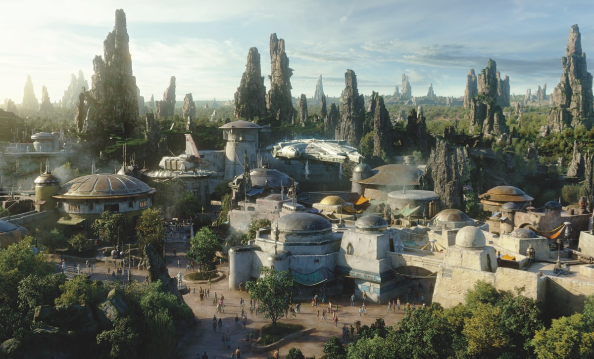 An artists impression of Star Wars Galaxy's Edge at Walt Disney World