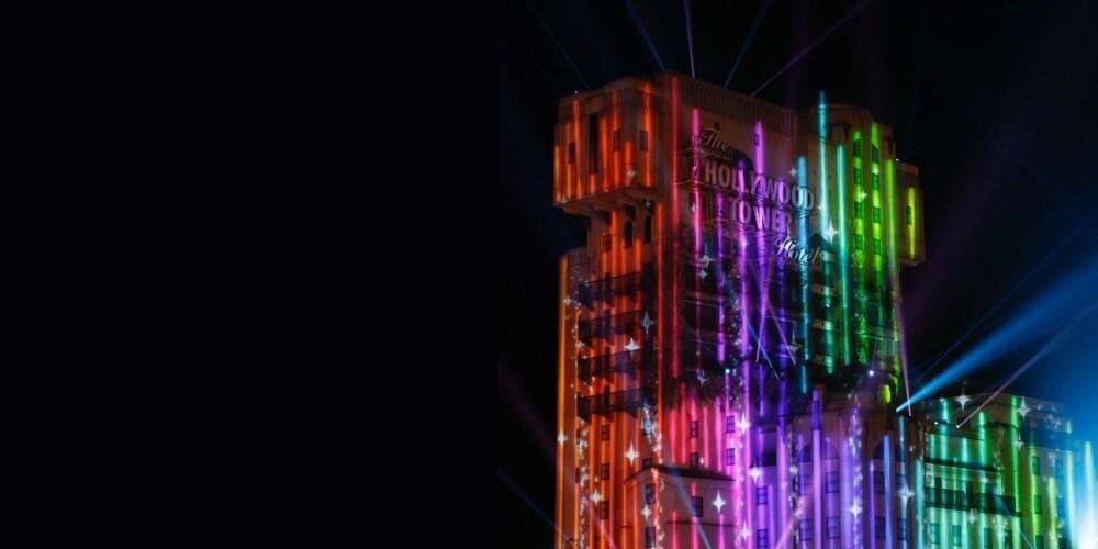 Magic Pride Event illuminations on Hollywood Tower of Terror ride at Disneyland Paris.
