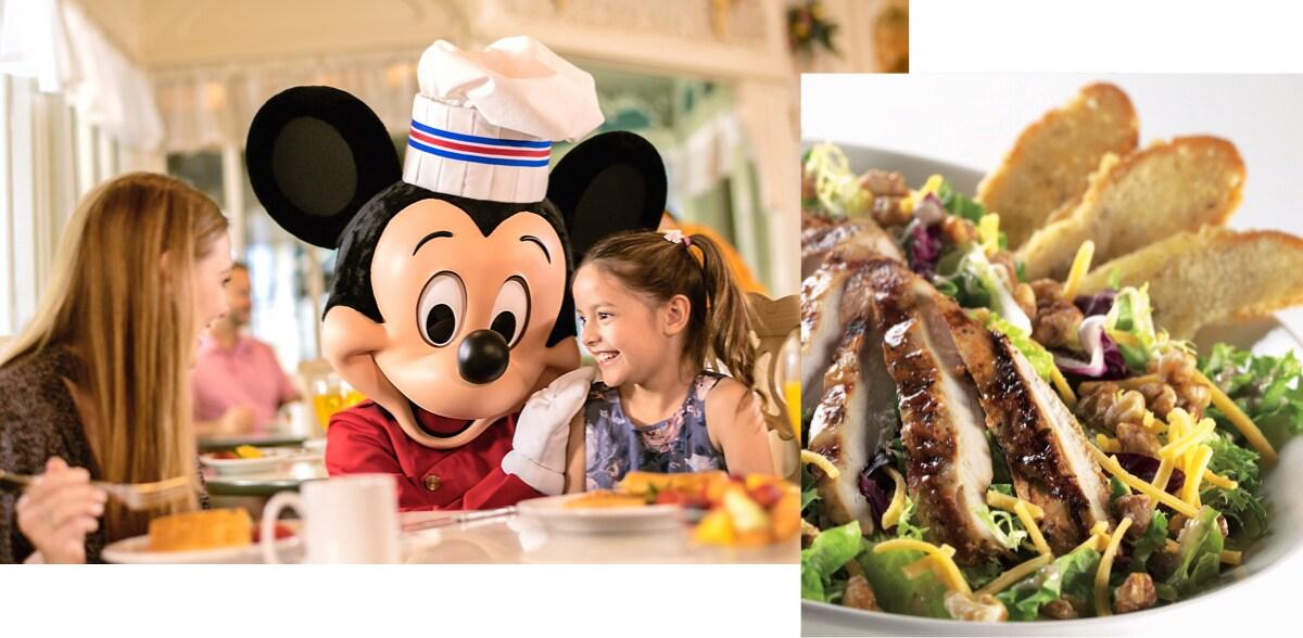 Una mujer y una niña en una mesa de comedor disfrutando de una comida con Mickey Mouse