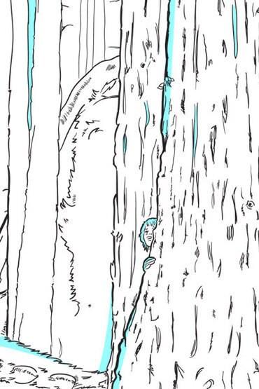 Coloriage Peter et Elliott le dragon dans la forêt