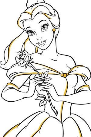 belle and rose colouring page
