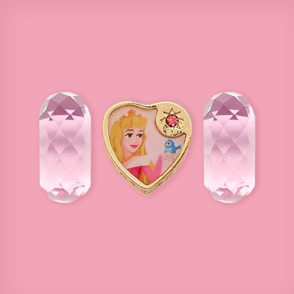 Sleeping Beauty inspired heart-shaped bead and two matching glass beads