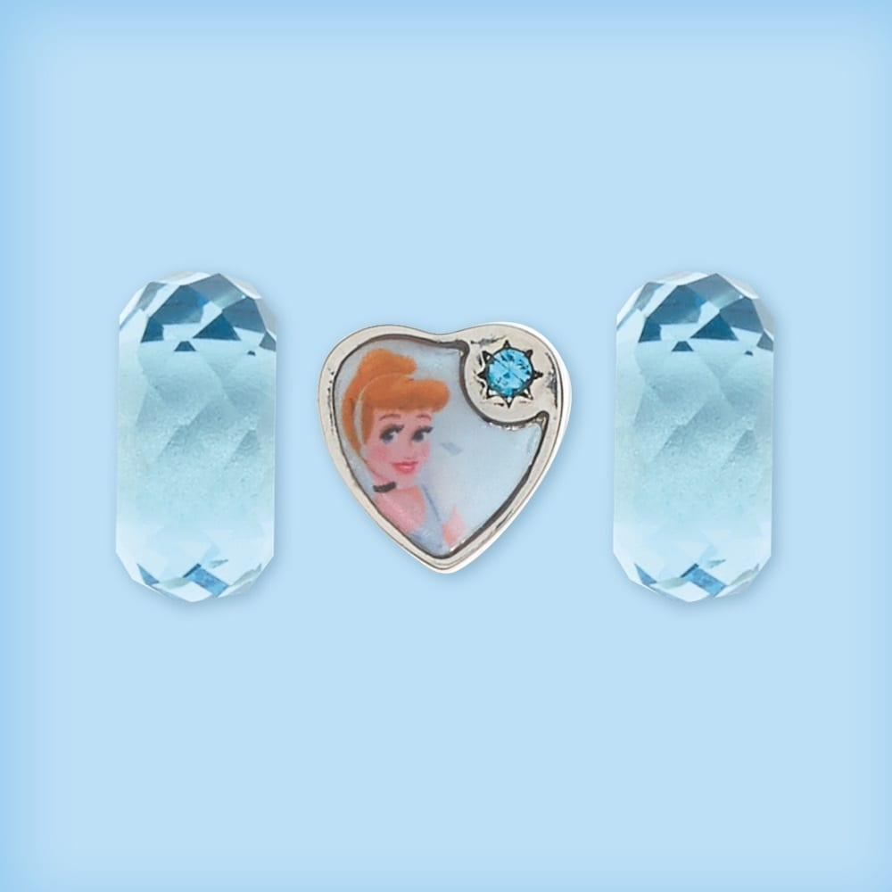 Cinderella inspired heart-shaped bead and two matching glass beads