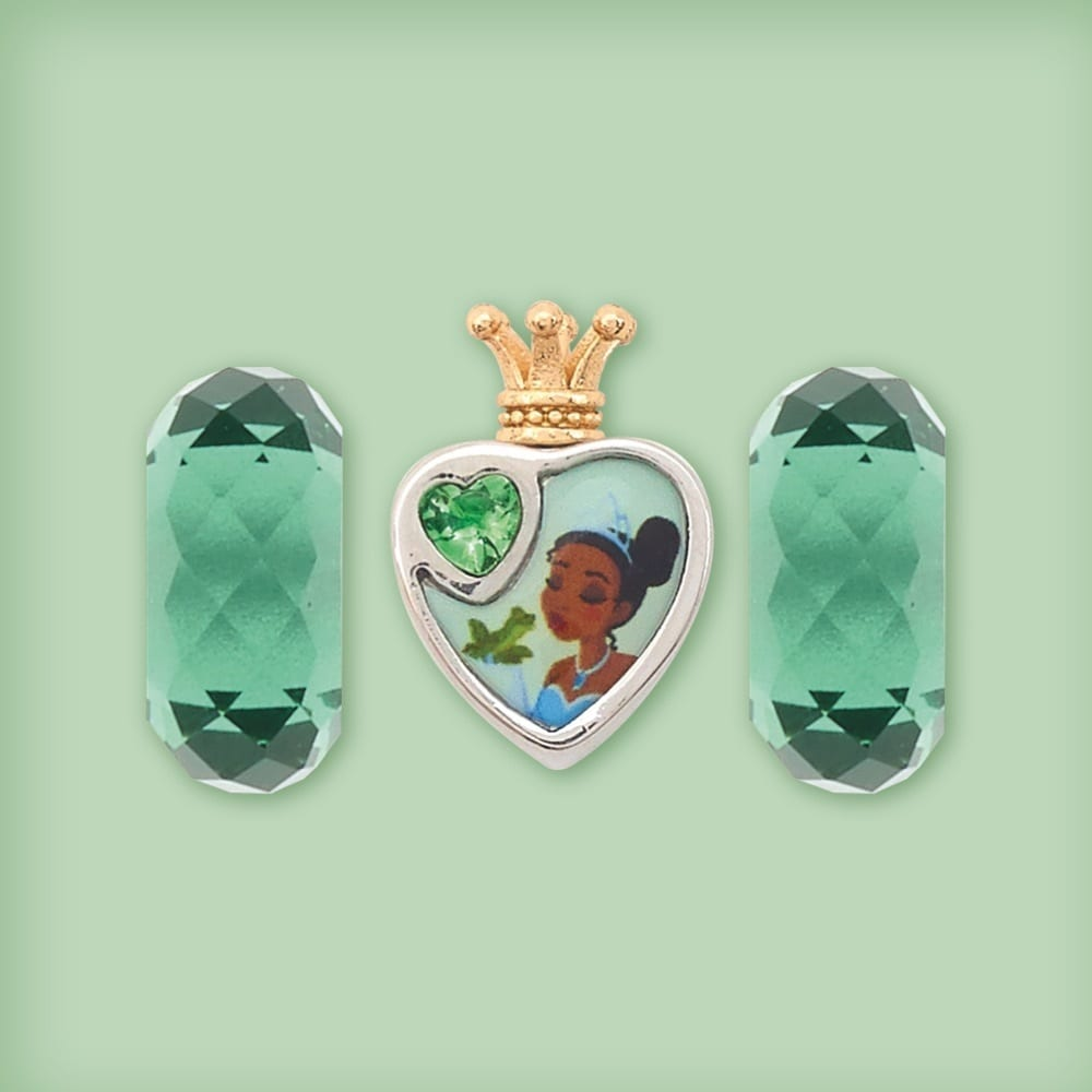 Tiana inspired heart-shaped bead and two matching glass beads