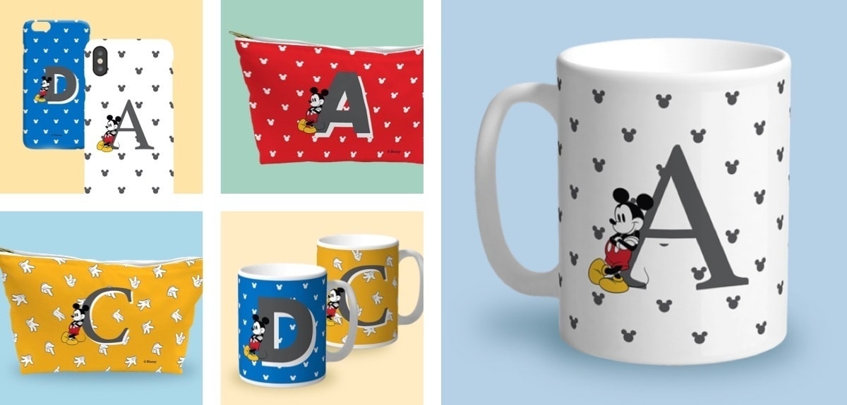 Mickey Mouse inspired mugs, phone cases and wash bags with initials