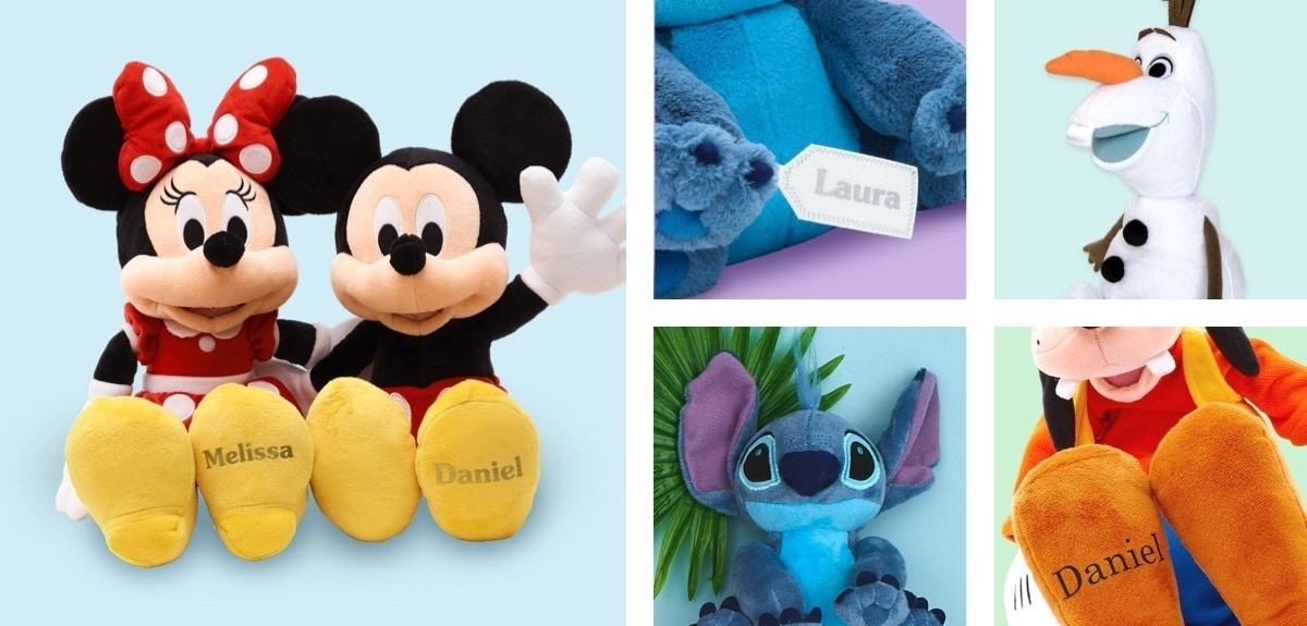 Mickey Mouse soft toy with 'Daniel' on it's foot, Minnie Mouse soft toy with 'Laura' on it's foot, Stitch soft toy with a tag with 'Laura' on it, Olaf soft toy, Goofy soft toy with 'Daniel' on it's foot