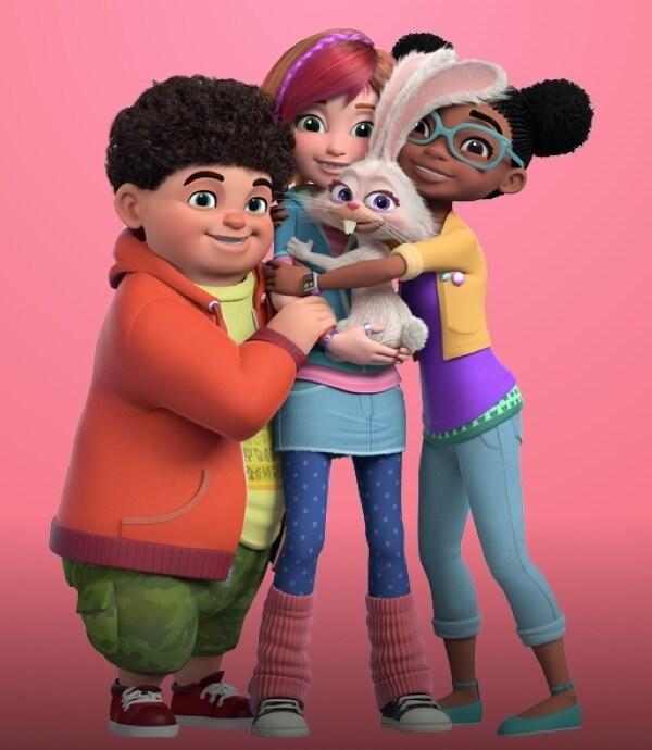 Sadie y sus amigos sobre fondo rosa