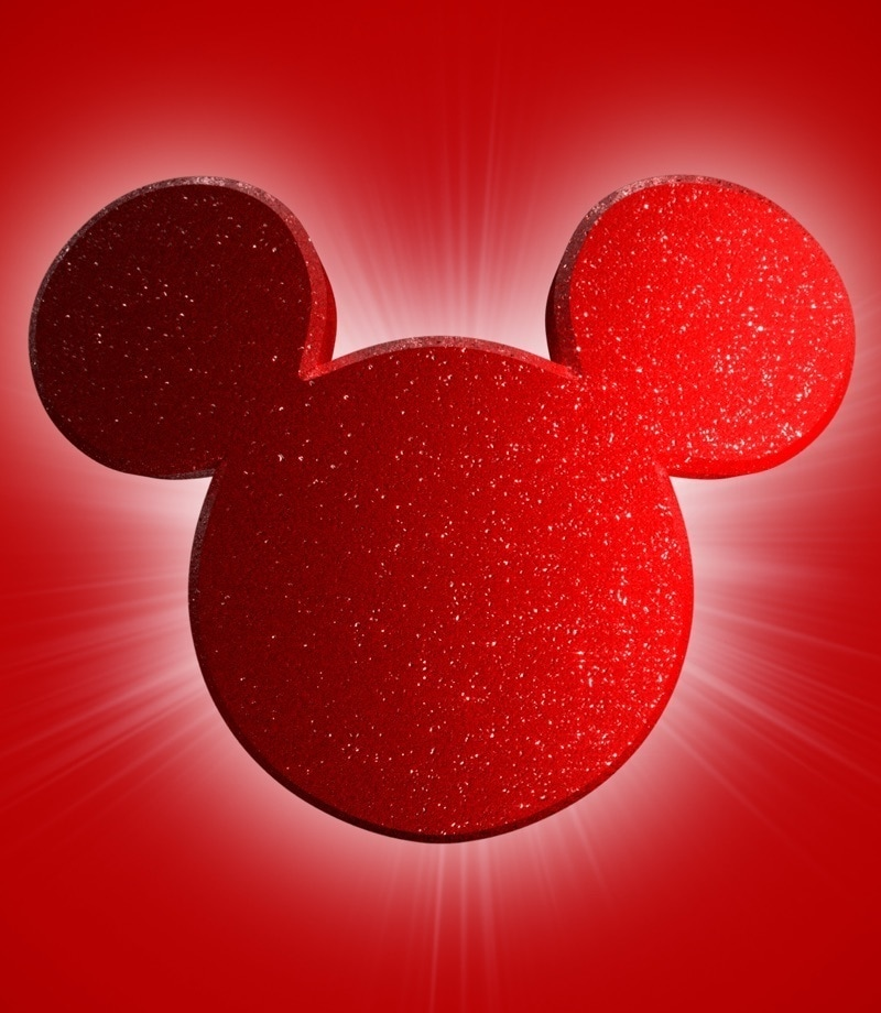 Red Mickey Mouse silhouette