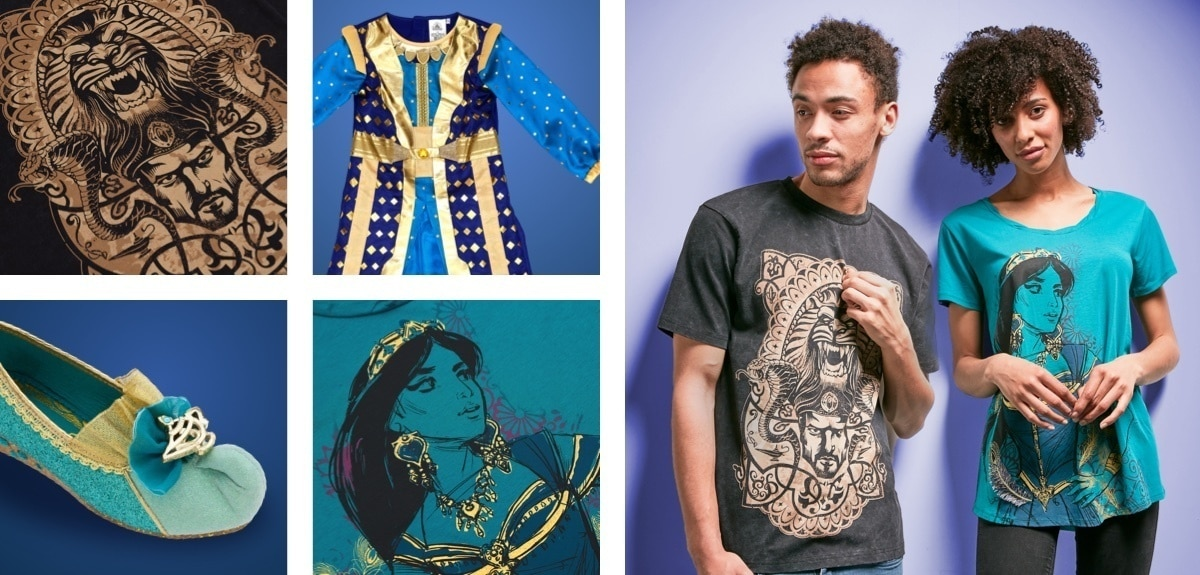 A selection of clothing from the Aladdin movie at shopDisney
