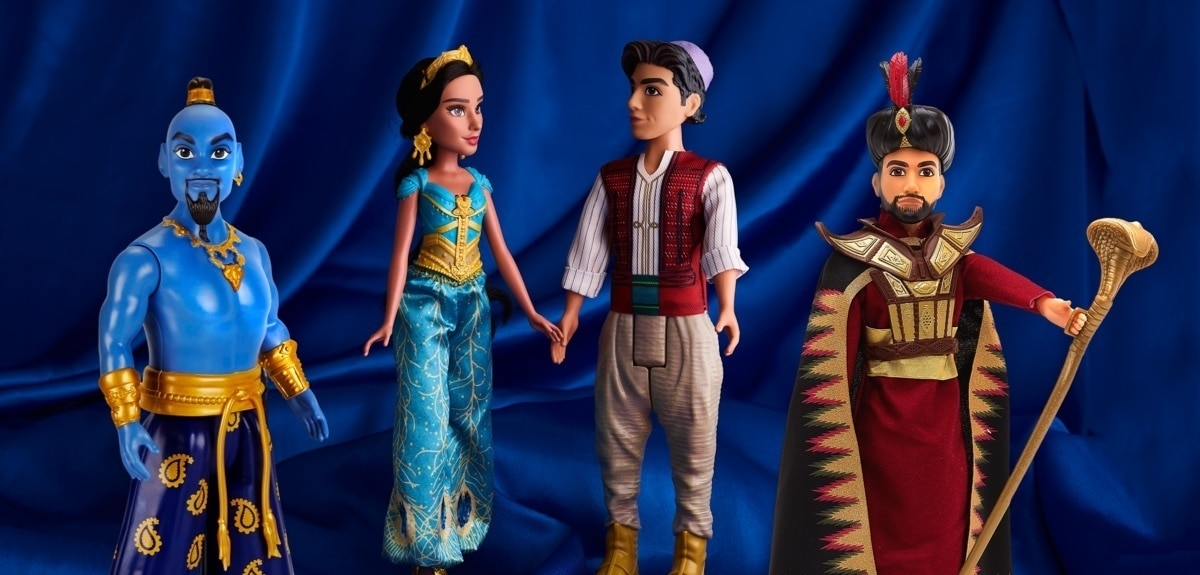 A selection of dolls from the Aladdin movie at shopDisney