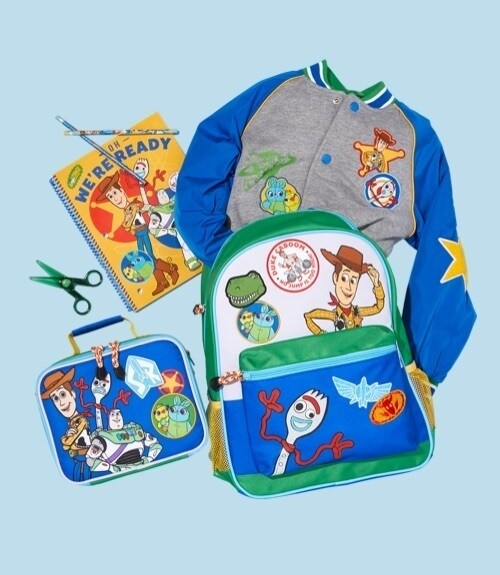 Toy Story inspired backpack, lunch box, jacket and stationery set