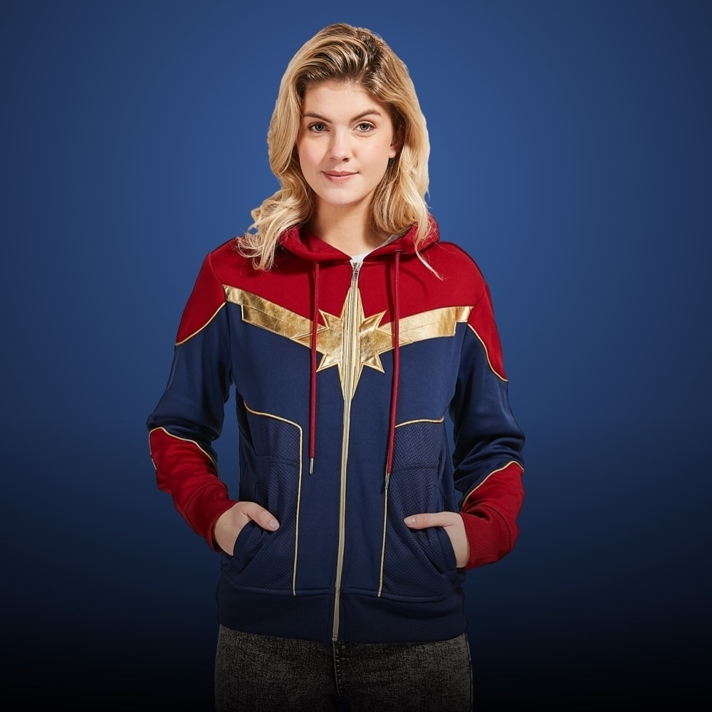Model in a Captain Marvel Costume Hooded Sweatshirt For Adults