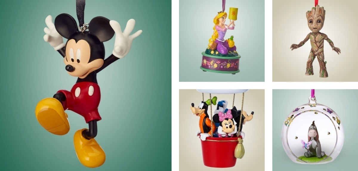 Christmas tree ornaments of Mickey Mouse, Rapunzel, Goofy, Groot and Eeyore