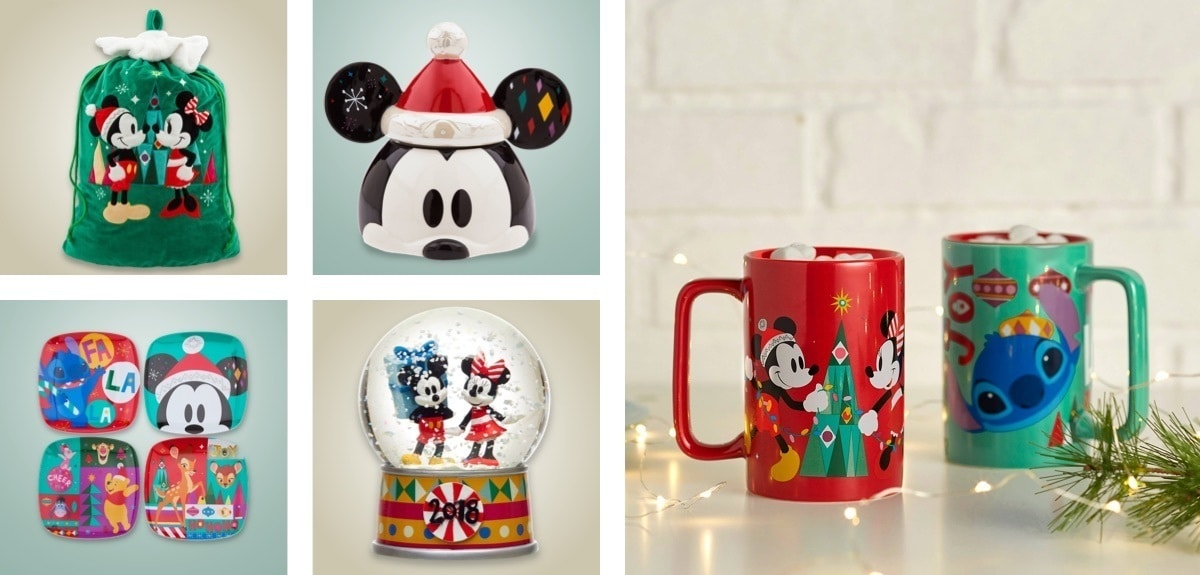 Mickey cookie jar, Stitch mug, Disney themed side plates, Christmas sack and snow globe