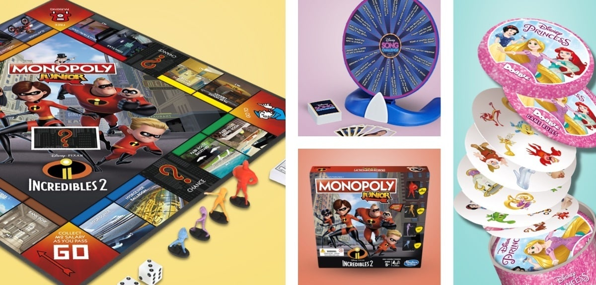 Incredibles 2, jeu de société Monopoly Junior, le rouet Hasbro Disney Song Challenge et les cartes Disney Princess Dobble