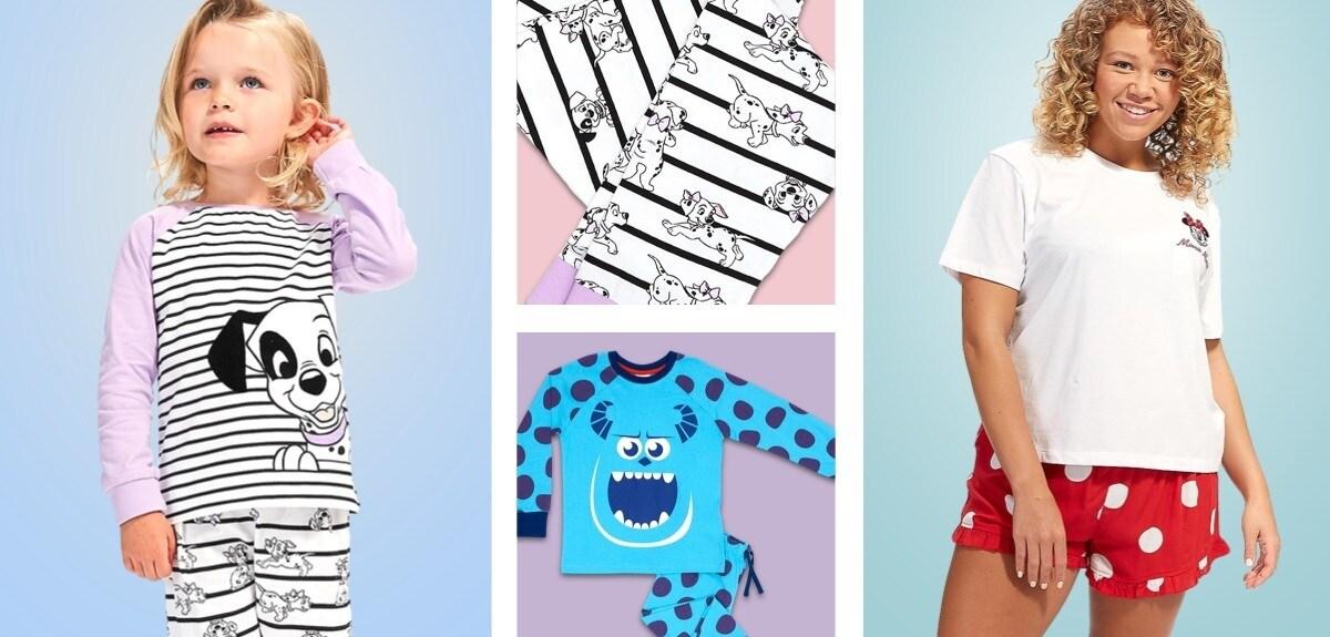 Un pyjama à pois Monsters Inc et une jeune fille en pyjama à imprimé chiot de 101 Dalmatiens