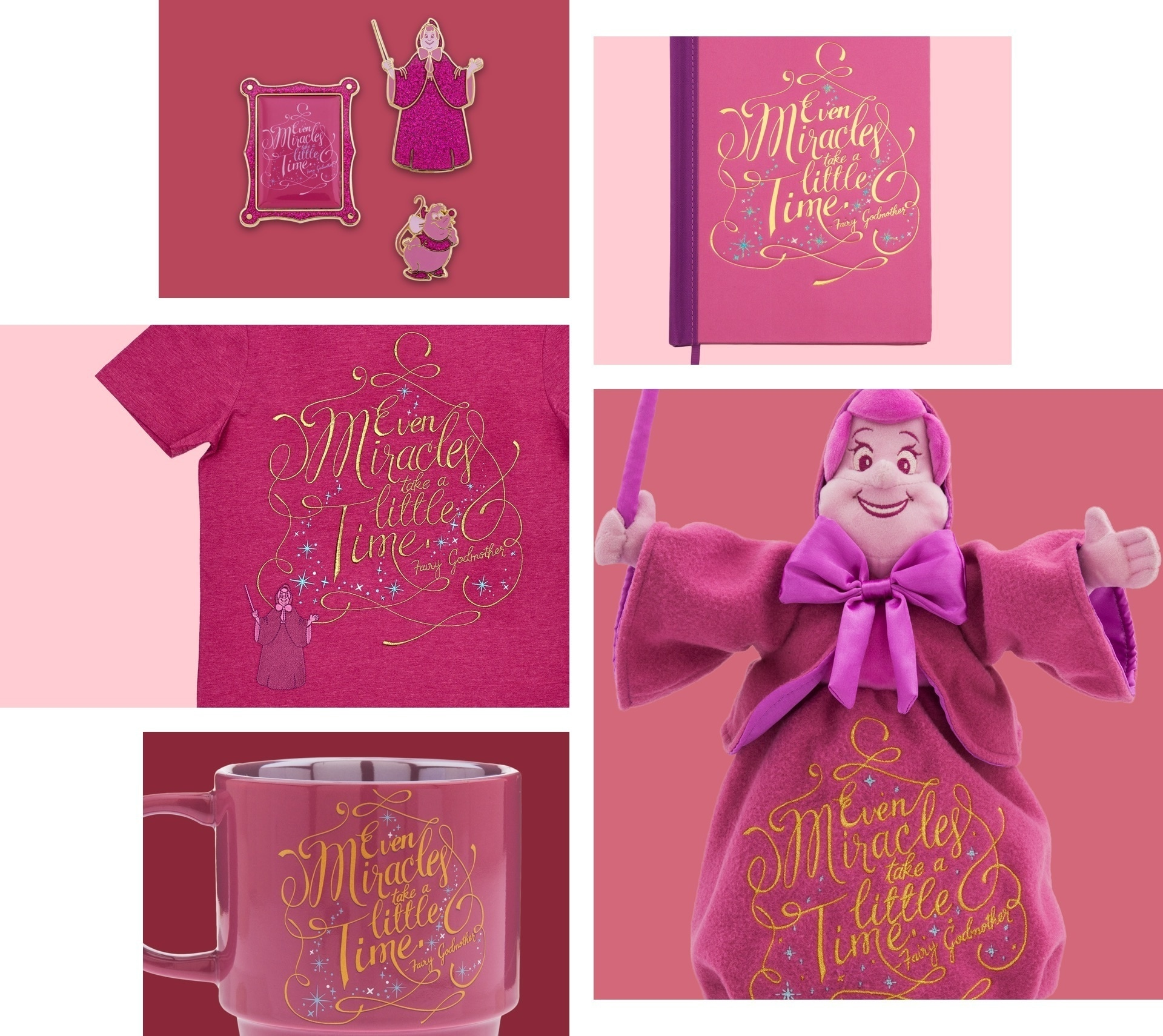 Fairy Godmother inspired Soft Toy, Notebook, Pin Set and Mug