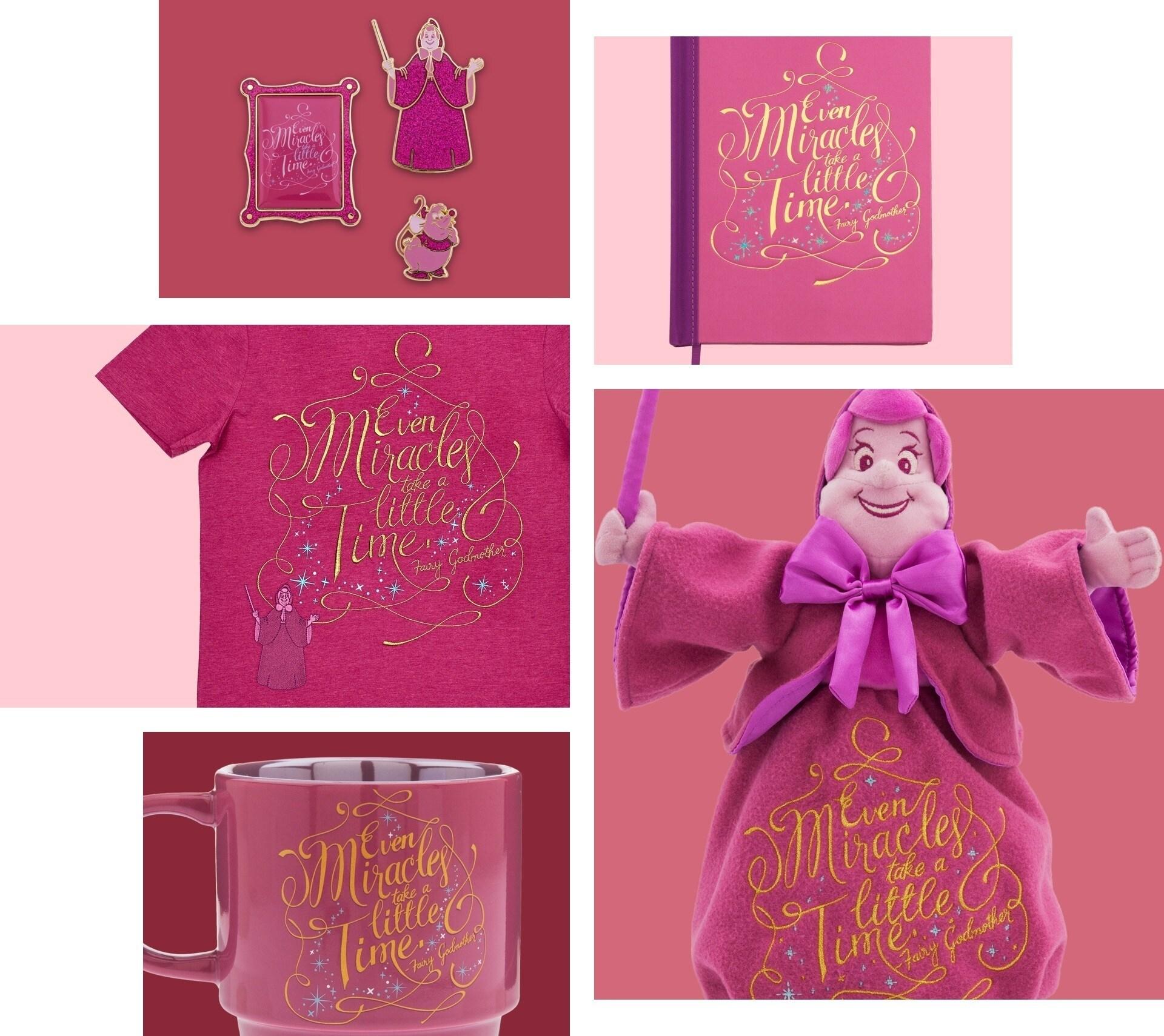 Peluche, cahier, broche et tasse inspirés du Marraine La Bonne Fée