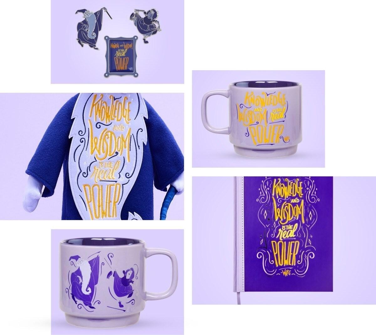Juguete suave, cuaderno, juego de alfileres y taza inspirados en Merlin