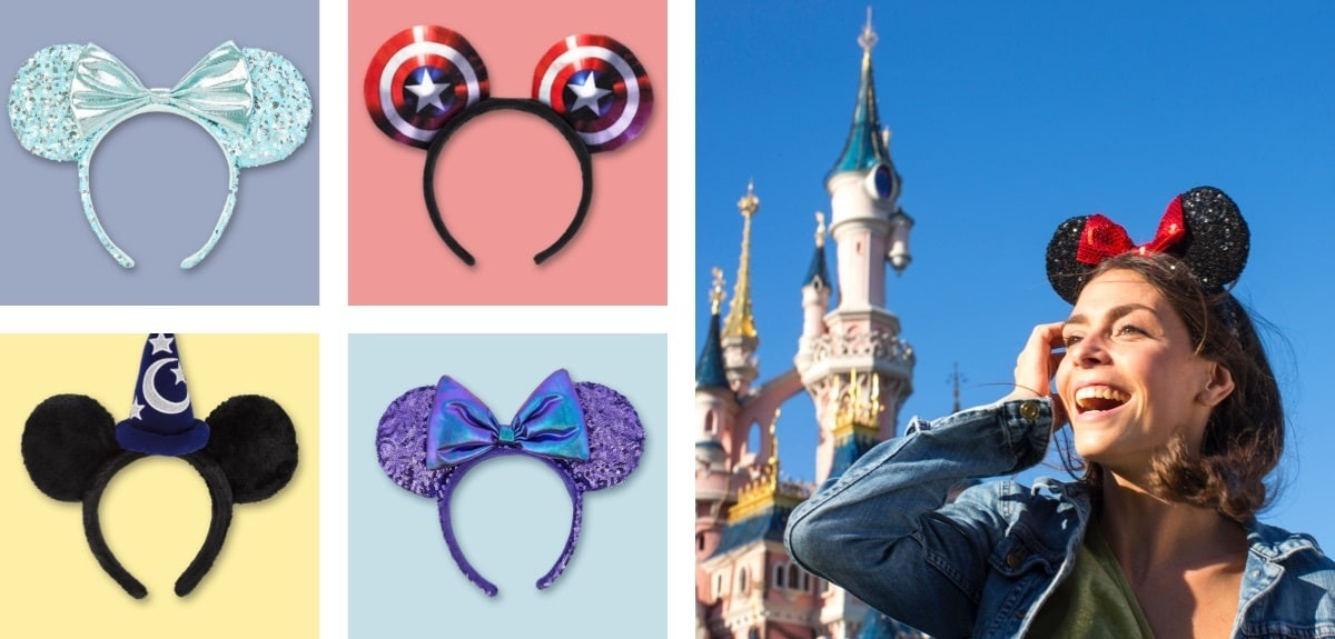 A selection of Mickey ears headbands from Disneyland Paris