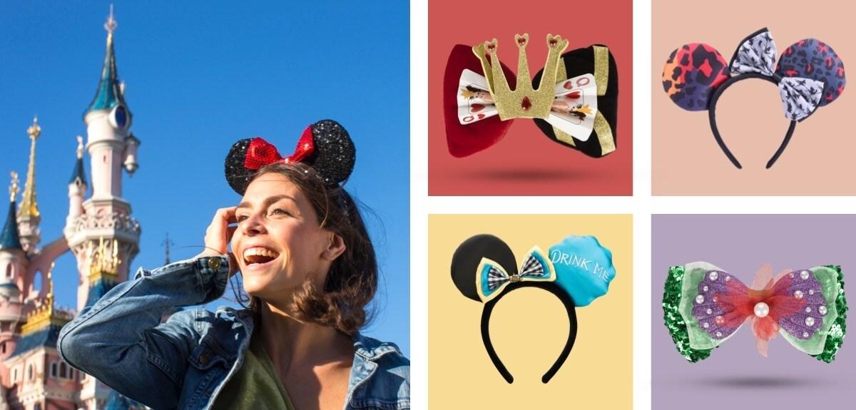 Alice headband, Ariel bow, Bambi headband and Queen of Hearts bow from Disneyland Paris