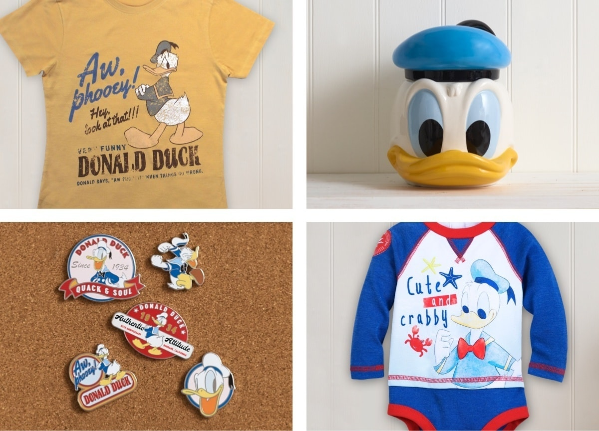A selection of Donald Duck inspired products.
