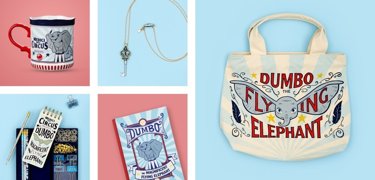 A selection of products available at shopDisney from the new Dumbo live action movie including a tote bag, mug and journal