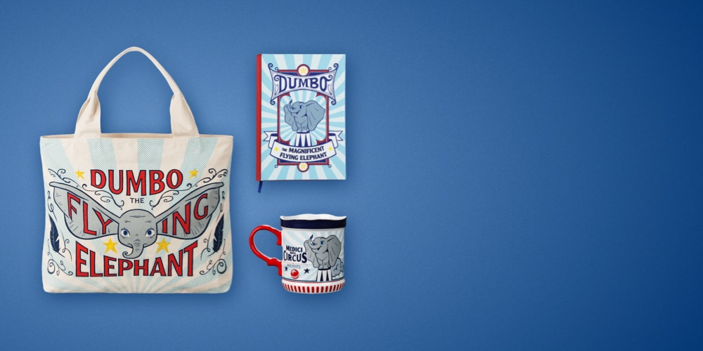 Dumbo mugs, tote bags, notebooks and merchandise