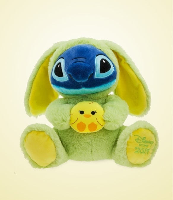 Stitch soft toy dressed in bunny outfit holding a sweet little soft-feel chick.